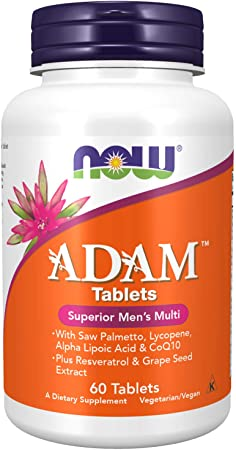 NOW Supplements, ADAM Men's Multivitamin with Saw Palmetto, Lycopene, Alpha Lipoic Acid and CoQ10, Plus Natural Resveratrol & Grape Seed Extract, 60 Tablets