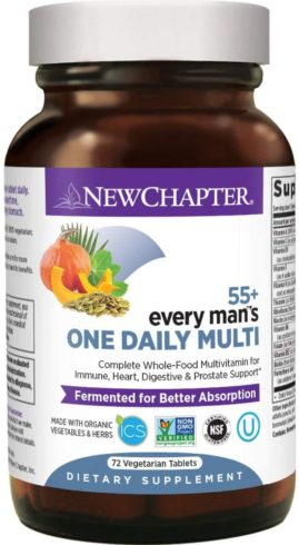 New Chapter Multivitamin for Men - Every Man's One Daily 55+ with Fermented Probiotics + Whole Foods + Astaxanthin + Organic Non-GMO Ingredients
