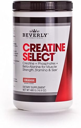 Beverly International Creatine Select with Phosphates, 40 servings. Since 2003, the only fail-proof creatine formula. Boosts muscle size and strength every time. For men and women. Tastes like Tang