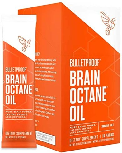 Bulletproof Brain Octane C8 MCT Oil Go Packs from Pure Coconut Oil Provides Mental and Physical Energy, Keto and Paleo Friendly, Travel Friendly, 15 Pack