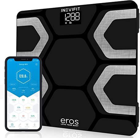 INEVIFIT EROS Bluetooth Body Fat Scale Smart BMI Highly Accurate Digital Bathroom Body Composition Analyzer with Wireless Smartphone APP 400 lbs 11.8 x 11.8 inch