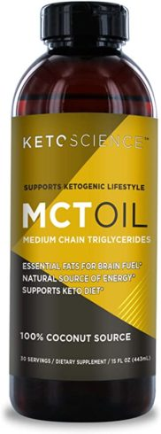 Keto Science Ketogenic MCT Oil Dietary Supplement, Made from 100% Coconuts, Sustained Natural Energy, Helps Burn Fat and Weight Loss, 15 fl. oz. (30 Servings)