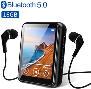 MP3 Player Bluetooth 5.0 Touch Screen Music Player 16GB Portable mp3 Player with Speakers high Fidelity Lossless Sound Quality mp3 FM Radio Recording e-Book 1.8 inch Screen MP3 Player Support