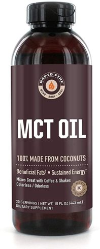 Rapid Fire MCT Oil, 100% Made from Coconuts, Ketogenic and Paleo Diet Approved, Weight Loss, Great in Keto Coffee, Tea and Smoothies 16 oz. (30 Servings)