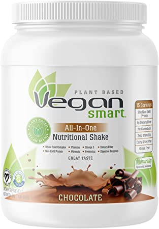 Vegansmart Plant Based Vegan Protein Powder by Naturade, All-In-One Nutritional Shake - Chocolate (15 Servings)