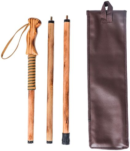 FOREST PILOT 3 Piece Walking Stick Wooden Handle with a Compass (Nature Color, 55 Inches, 1 Piece)