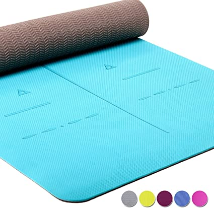 Heathyoga Eco Friendly Non Slip Yoga Mat, Body Alignment System, SGS Certified TPE Material - Textured Non Slip Surface and Optimal Cushioning