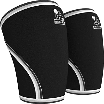 Knee Sleeves (1 Pair) Support & Compression for Weightlifting, Powerlifting & Cross Training - 7mm Neoprene Sleeve for the Best Squats - Both Women & Men - by Nordic Lifting