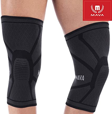 Mava Sports Knee Compression Sleeve Support for Men and Women - Perfect for Powerlifting, Weightlifting, Running, Gym Workout, Squats and Pain Relief (Black, Large)