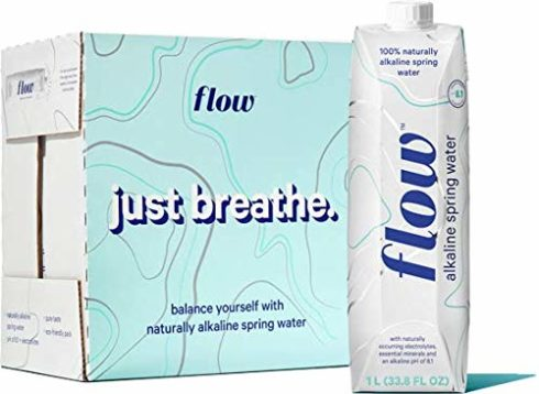 Flow Alkaline Spring Water, 100% Natural Alkaline Water, Eco-Friendly Packaging, Refreshing Taste, Boxed Mineral Water, Natural Electrolytes, Water with pH, Non-GMO, BPA-Free, Liter (6)