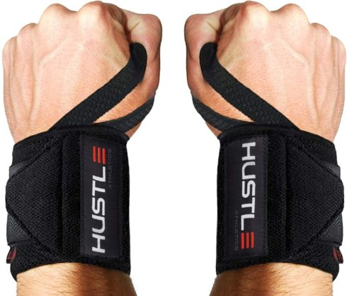 Hustle Athletics Wrist Wraps Weightlifting - Best Support for Gym & Crossfit - Brace Your Wrists to Push Heavier, Avoid Injury & Improve Your Workout Instantly - for Men & Women