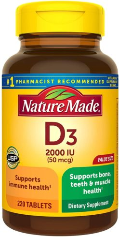 Nature Made Vitamin D3 2000 IU (50 mcg) Tablets, 220 Count for Bone Health† (Packaging May Vary)