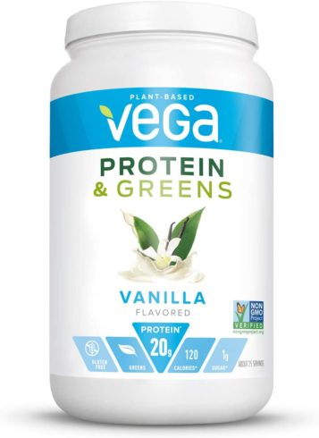 Vega Protein and Greens, Vanilla, Plant Based Protein Powder Plus Veggies - Vegan Protein Powder, Keto-Friendly, Vegetarian, Gluten Free, Soy Free, Dairy Free, Lactose Free (25 Servings, 1lb 10.8oz)