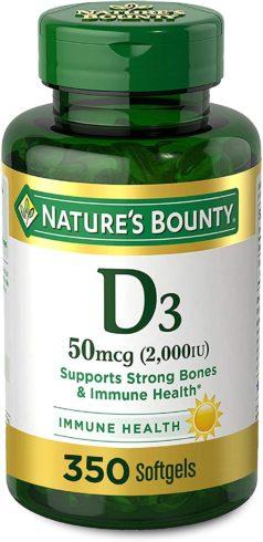 Vitamin D by Nature's Bounty for Immune Support. Vitamin D Provides Immune Support and Promotes Healthy Bones. 2000IU, 350 Softgels