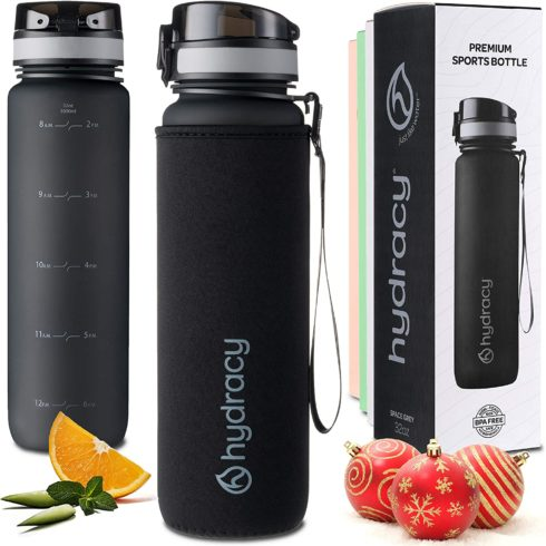 Hydracy Water Bottle with Time Marker - Large 1 Liter 32 Oz BPA Free Water Bottle