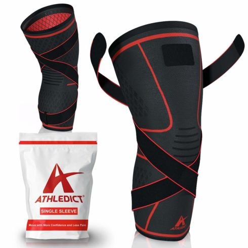 Knee Brace Compression Sleeve with Strap for Best Support & Pain Relief for Meniscus Tear