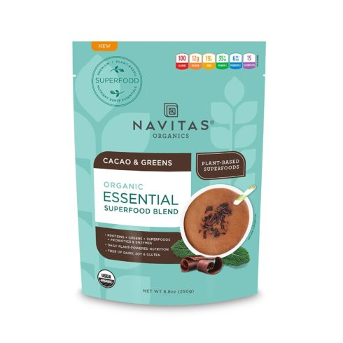 Navitas Organics Essential Superfood Protein Blend, Cacao & Greens, 8.8oz. Bag, 10 Servings