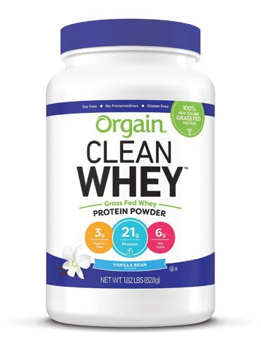 Orgain Grass Fed Clean Whey Protein Powder, Vanilla Bean