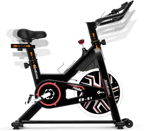 RINKMO Spin Bike, Indoor Stationary Bike with Pad Holder, Super Silent Exercise Bike with 36Lbs Chromed Solid Flywheel